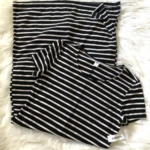 NWT Old Navy Midi Short Sleeve Striped Dress XS